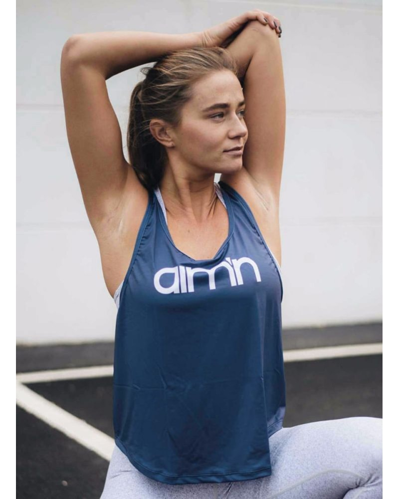 aimn Loose Fit Singlet Top - Womens - Navy - Activewear - Tops - Dancewear Centre Canada