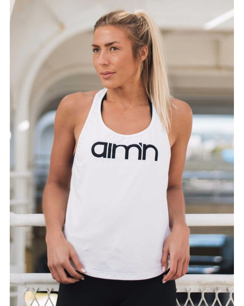 aimn Loose Fit Singlet Top - Womens - White