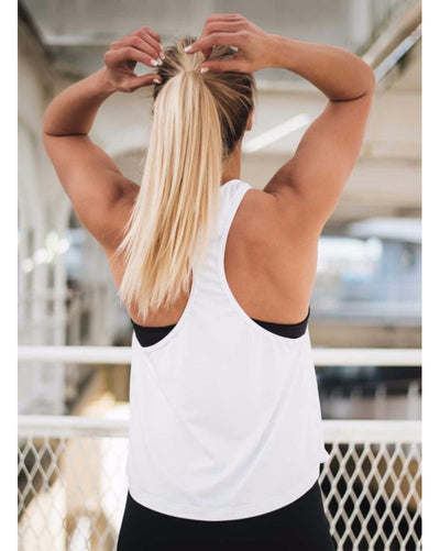 aimn - White Loose Fit Singlet Top Womens - Activewear - Tops - Dancewear Centre Canada