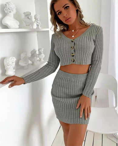 ribbed skirt set