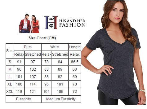 Fabulous V Neck Short Sleeves Grey Summer Classic Basic T-Shirt