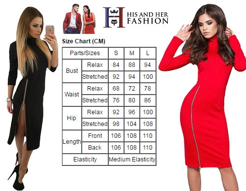 Figure Flattering Red High Neck Zipped Slit Long Sleeve Her Midi Dress