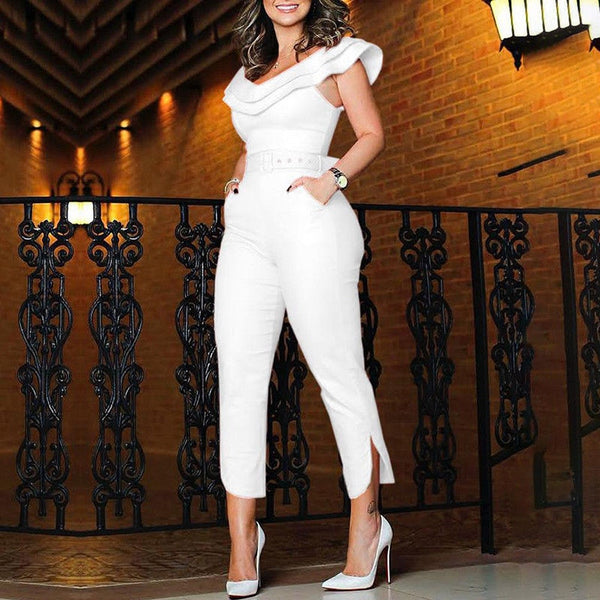 Women Ruffles Neck High Waist Clubwear Jumpsuit Chic Party Romper