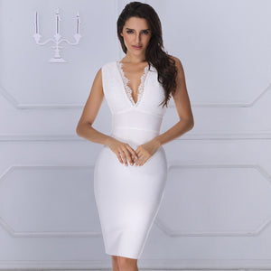 Women Lux Runway White Lace Her Fashion V-Neck Backless Bandage Dress