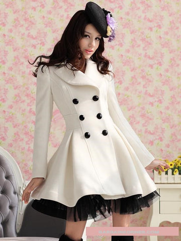 New Style Winter Wool Women's Coats  Plus Size S-XXL White Red Black