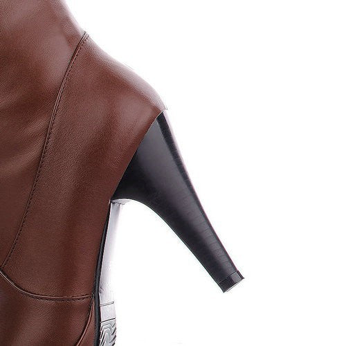 "10.cm Knee Heel PU Fashion Boots Round Toe Thin Heels Solid High Quality Boots ""Trendy Series"""