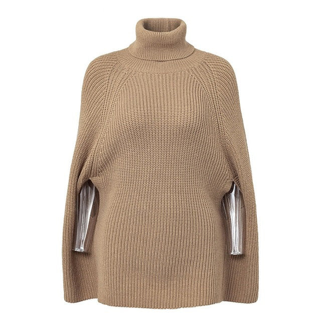 Turtleneck Oversize Knitted Her Fashion Sweaters Pullover Poncho