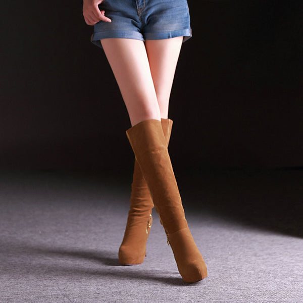 "12cm Sexy DJ Party Flock High Heel Zipper Slip-On Boots Shoes ""Trendy Series"""
