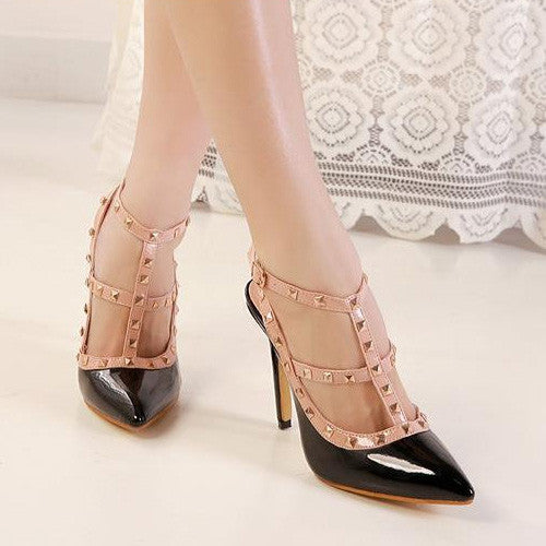 2015 Hot Women's Fashion Pointed Toe Rivets Sandals PU Leather High Heeled Sanda