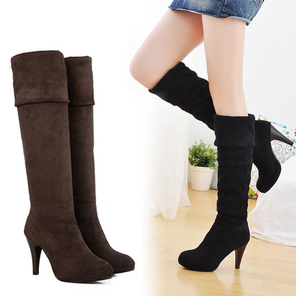 2015 New Fashion Slim Over-Knee High Heels Long Boots Winter Pointed Toe Platform Stretch Long Boots
