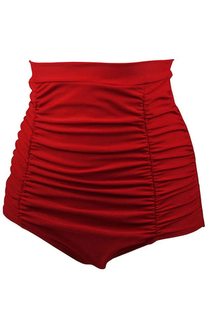 Her Fashion Red Retro High Waisted Beach Style Swim Short