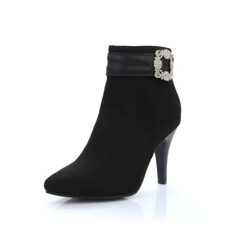 Her Trendy Style Graceful Drill Decoration Black Ankle Boots Women Shoes