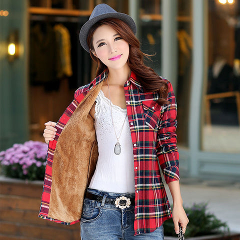 Winter Warm Women Velvet Thicker Jacket Plaid Shirt
