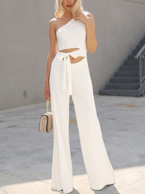 Elegant Office Women White Casual Her Fashion One Shoulder Jumpsuit