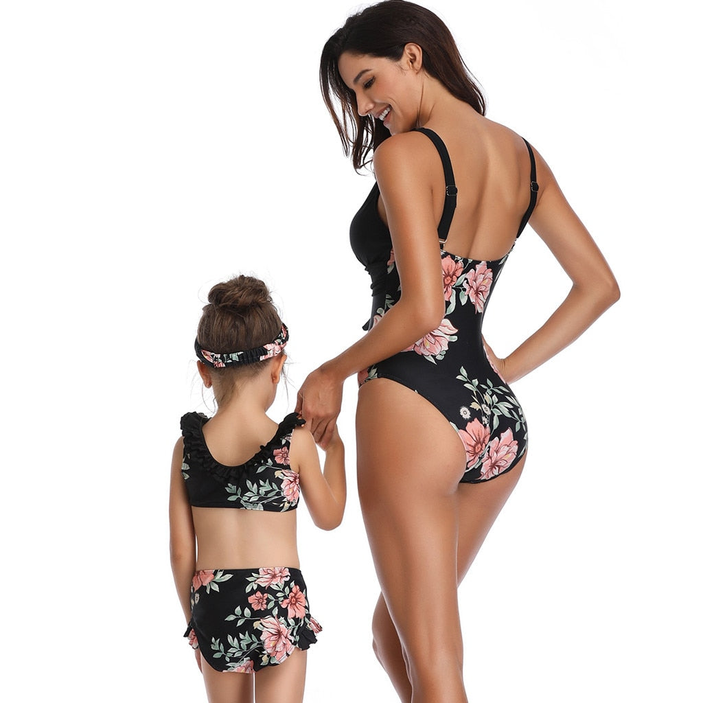 Mother And Daughter Swimsuit Bikini Swimwear Family Matching Clothes