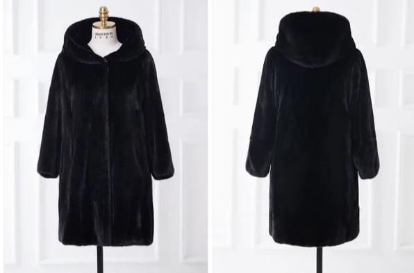 European Style Autumn Winter Imitation Fur Hoodies Long Womens Coat