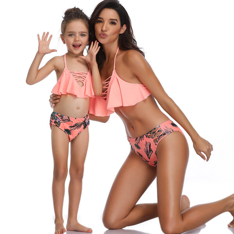 Womens Swimsuit Mom Daughter Mamas Bandage Two Pieces Swimwear