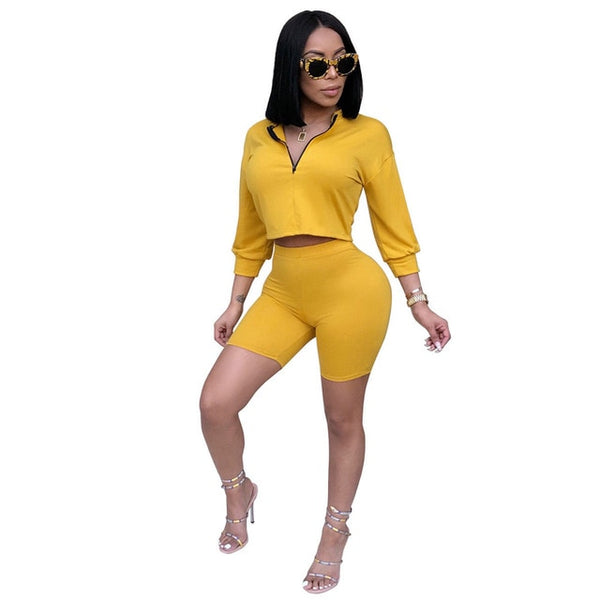 Women Jumpsuit Set Her Fashion Crop Top Turn Collar High Waist Short