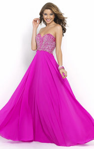 A Line Chiffon Backless Prom Dress Sleeveless Floor Length Formal Gown