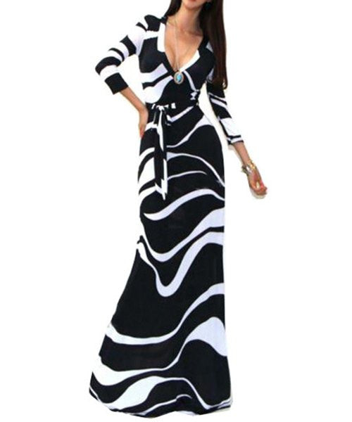Abstract Printed HisandHerFashion High Waist Maxi Dress