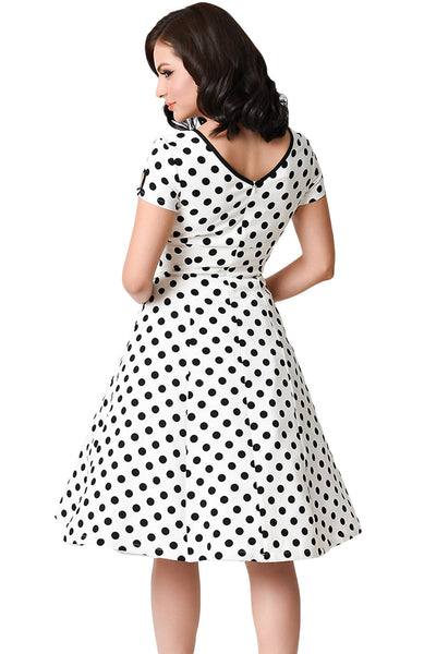 Adorable White & Black Dotted Cap Sleeve Swing Dress
