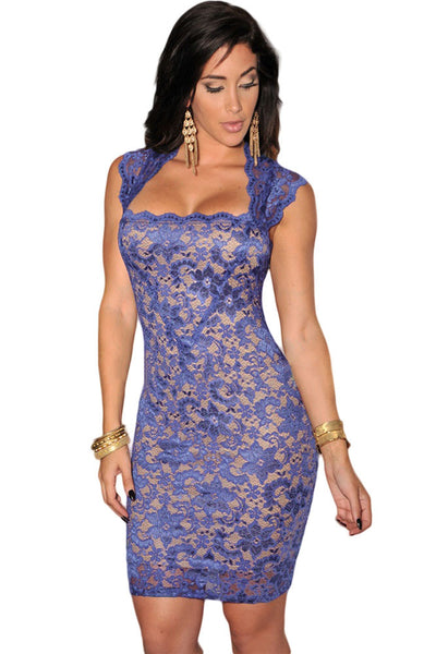 Alluring Illusion Look Lace Short Sleeves Women Dress