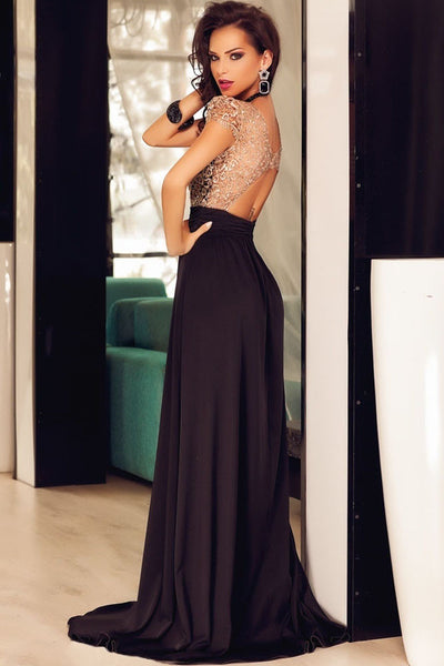 Amazing Gold Lace Overlay Slit Maxi Evening Gown