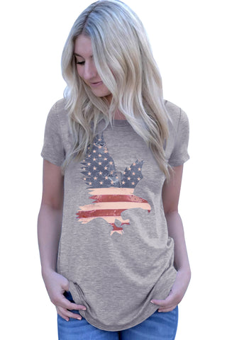 America Flag Eagle Grey Her Fashion Short Sleeve Simple Daily T-Shirt