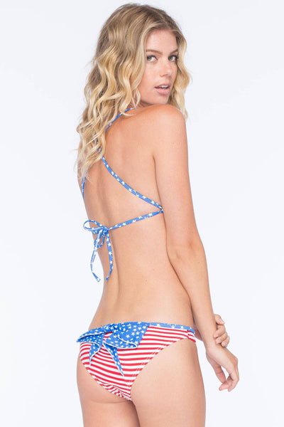 American Chic Fashion Print Bow Accent Bikini Swimsuit