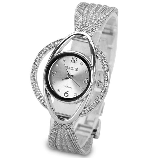 "Analog Indicate and Steel Mesh Strap Watchband ""Chic Series"" Quartz Watch for Women"