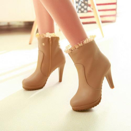 "Ankle / Knee High Boots Two Wears Sexy High Quality PU Leather High Heel ""Trendy Series"" Boots"