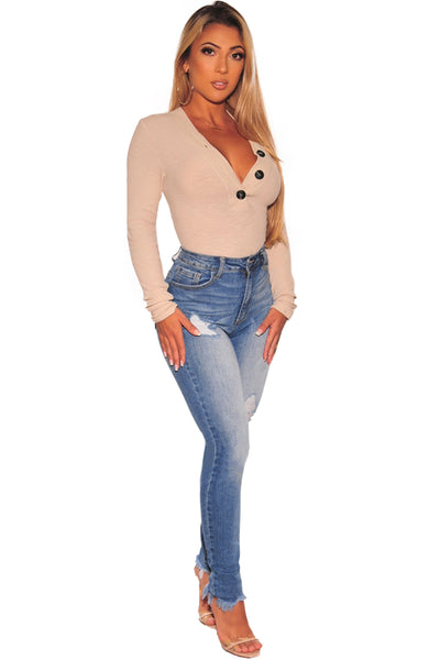 Apricot Ribbed Knit Button Neckline Her Fashion Long Sleeves Bodysuit