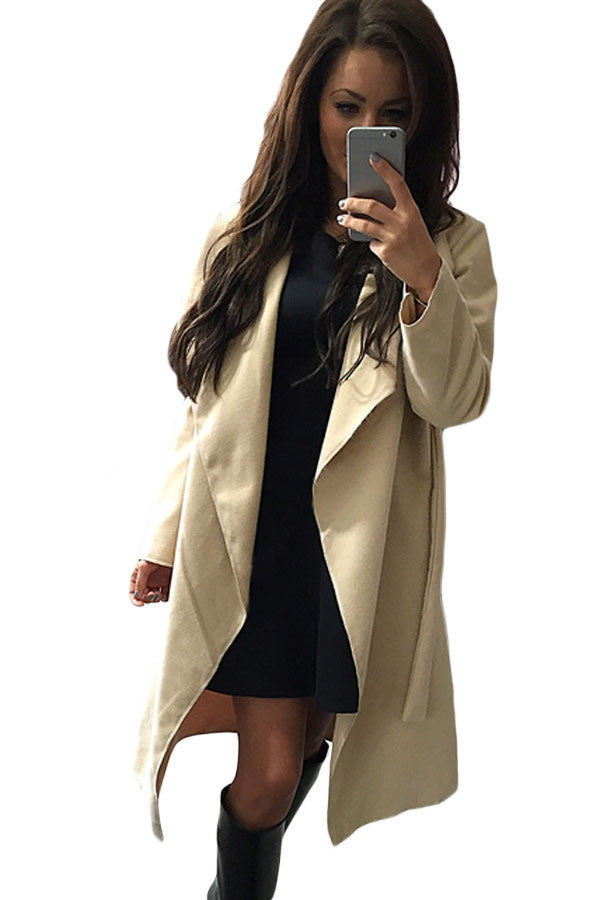 Apricot Drape-Front Turn Down Collar Long Sleeve Trench Coat