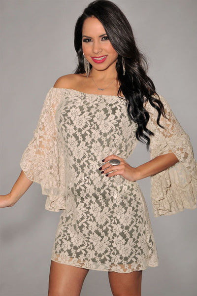 Apricot Sweet Ruffled Sleeves Lace Mini Women Dress