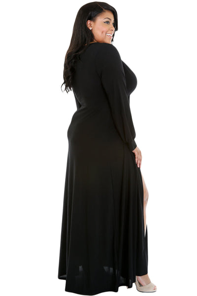 BIG'n'BEAUTIFUL Black Long Sleeve Deep V-neck Plus Maxi Dress with Slit