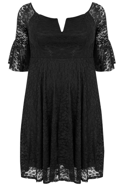 BIG'n'BEAUTIFUL Black Plus Size Flute Sleeve Her Lace Dress