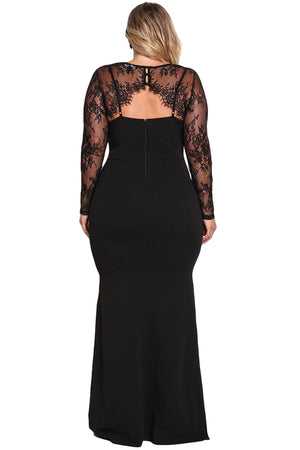 BIG'n'BEAUTIFUL Black Plus Size Lace Bolero Mermaid Gown