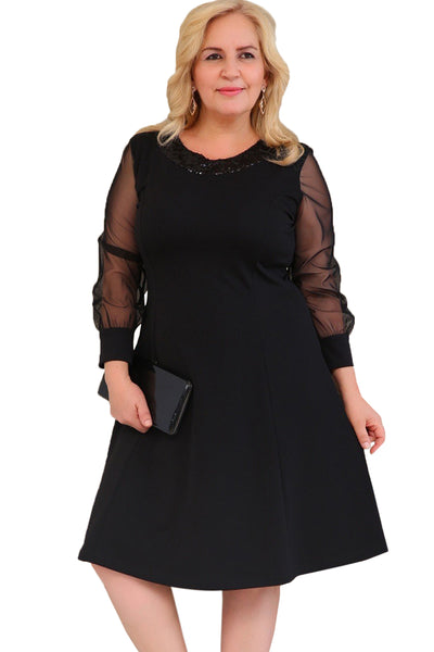 BIG'n'BEAUTIFUL Sequinned Round Neck Plus Size Women A-Line Dress