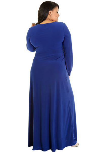 BIG'n'BEAUTIFUL Blue Long Sleeve Deep V-neck Plus Maxi Dress with Slit