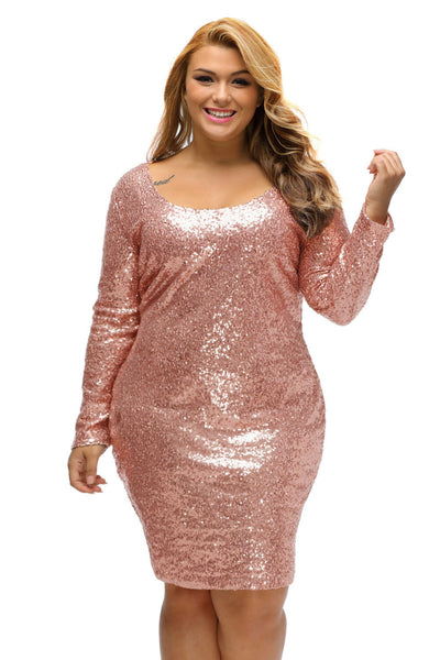 BIG\'n\'BEAUTIFUL Sparkling Sequin Plus Size Long Sleeve Dress