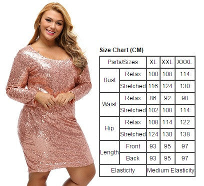 BIG\'n\'BEAUTIFUL Sparkling Sequin Plus Size Long Sleeve Dress ...