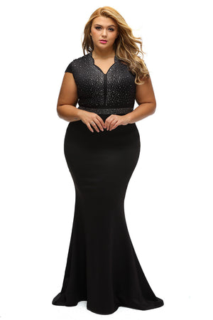 BIG'n'BEAUTIFUL Elegant Black Rhinestone Front Bodice Plus Size Dress