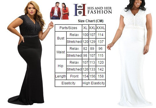 BIG'n'BEAUTIFUL Elegant White Rhinestone Front Bodice Plus Size Dress