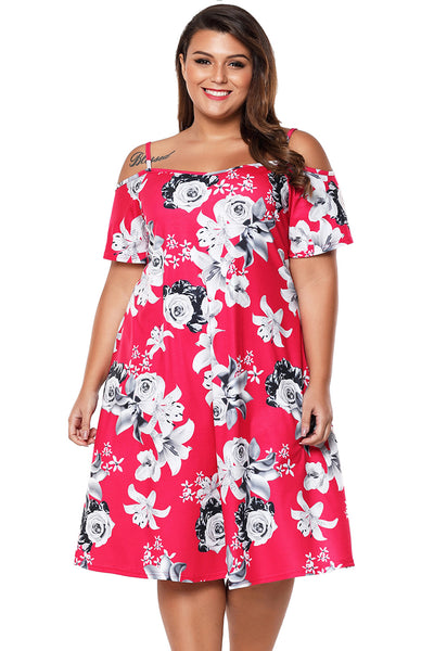 BIG'n'BEAUTIFUL Pink & Grey Floral Cold Shoulder Plus Size Dress