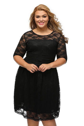 BIG'n'BEAUTIFUL Stylish Black Lace Women Classic Plus Dress (LIMITED EDITION)