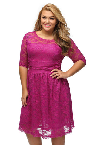 BIG'n'BEAUTIFUL Stylish Rosy / Blue Lace Women Classic Plus Dress (LIMITED EDITION)