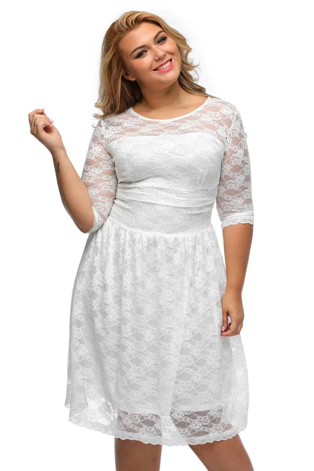 BIG'n'BEAUTIFUL Stylish White Lace Women Classic Plus Dress (LIMITED EDITION)