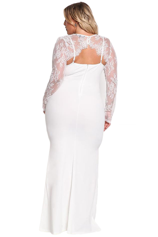 BIG'n'BEAUTIFUL White Plus Size Lace Bolero Mermaid Gown