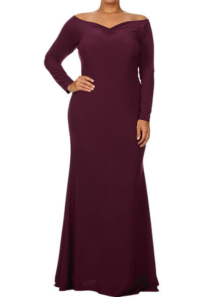 BIG'n'BEAUTIFUL Red Off-shoulder V Neck Long Sleeve Plus Size Dress