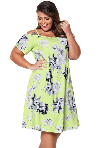 BIG'n'BEAUTIFUL Yellow & Grey Floral Cold Shoulder Plus Size Dress